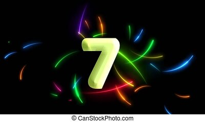 All rainbow neon arrows motion random all frame and count down effect on the black screen