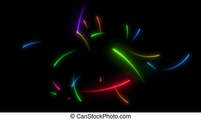 All rainbow neon arrows motion random middle frame and count down on the black screen