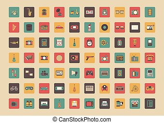 all retro gadget icon - all retro icon set, music, vehicle,...