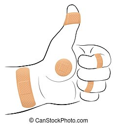 All right - thumbs up gesture with five adhesive plasters. Illustration on white background.