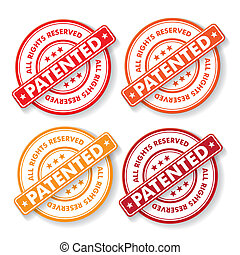 All Rights Reserved Patendet Stamp Labels - Free shipping...