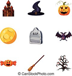 All saints day icons set, cartoon style