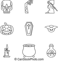 All saints day icons set, outline style