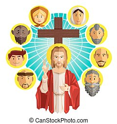 All Saints Day Illustration - Illustration Of Jesus with All...