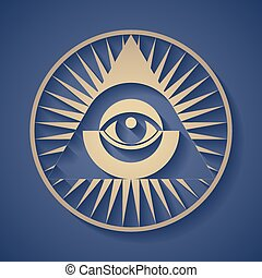 All seeing eye - Vector human eye in engraved style. Eps8....
