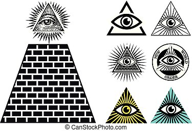 All Seeing Eye Icons Set Pyramid Illuminati Symbol