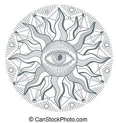 All seeing eye illuminati new world order vector freemasonry sign