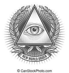 All seeing eye in delta triangle. Pyramid and freemasonry...