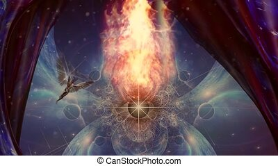All seeing eye in fire and angel