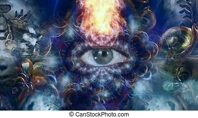 All seeing Eye in flames. Surreal scene. High quality FullHD footage