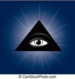 All seeing eye of providence. Masonic symbol