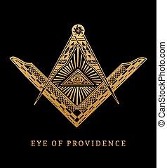 All-seeing eye of providence. Masonic square and compass symbols. Freemasonry pyramid engraving logo, emblem.