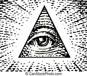 All Seeing eye of the new world order. Vector illustration
