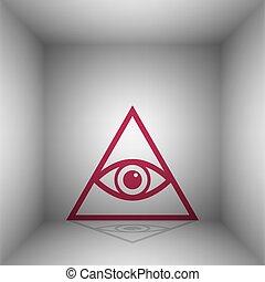 All seeing eye pyramid symbol. Freemason and spiritual. Bordo icon with shadow in the room.