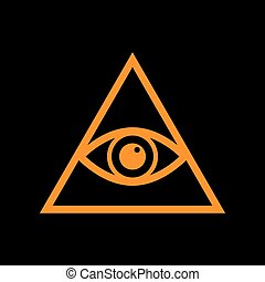 All seeing eye pyramid symbol. Freemason and spiritual. Orange icon on black background. Old phosphor monitor. CRT.