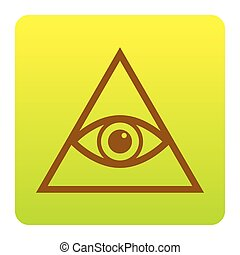 All seeing eye pyramid symbol. Freemason and spiritual. Vector. Brown icon at green-yellow gradient square with rounded corners on white background. Isolated.