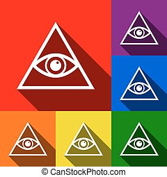 All seeing eye pyramid symbol. Freemason and spiritual. Vector. Set of icons with flat shadows at red, orange, yellow, green, blue and violet background.