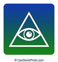 All seeing eye pyramid symbol. Freemason and spiritual. Vector. White icon at green-blue gradient square with rounded corners on white background. Isolated.