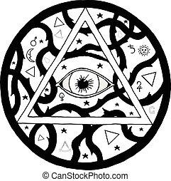 All seeing eye pyramid symbol in tattoo engraving design