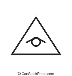 All seeing eye pyramid vector line illustration, icon, ...