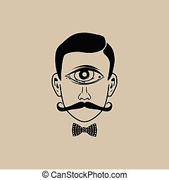 all seeing eye retro gentleman with bow tie vector