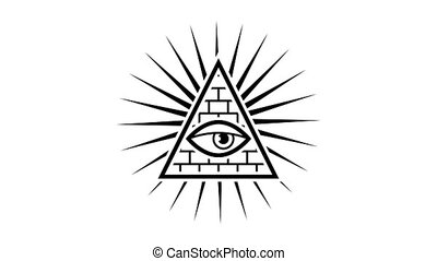 All seeing eye. Sign Masons. White background. Alpha...