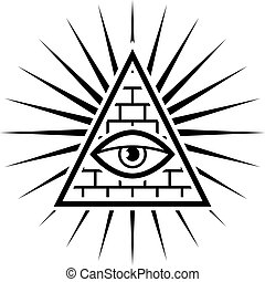 All seeing eye. Sign Masons. White background. Vector ...