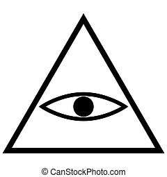 All seeing eye symbol the black color icon .