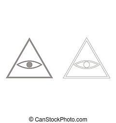 All seeing eye symbol  the grey set icon .