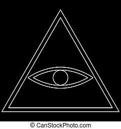 All seeing eye symbol   the white path icon .