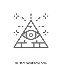 All seeing eye, triangle, pyramid line icon.