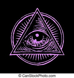 All seeing eye - Vector human eye in engraved style. Eps8. ...