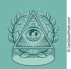 All seeing eye. Vector illustration