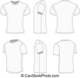 All six views men's white short sleeve t-shirt design...