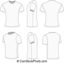 All six views men's white short sleeve t-shirt design...