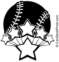 All-star Baseball or Softball - Black and white vector of a...