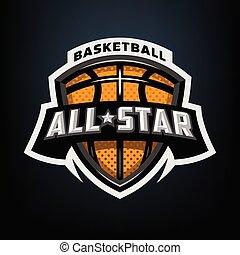 All star basketball, sports logo emblem.