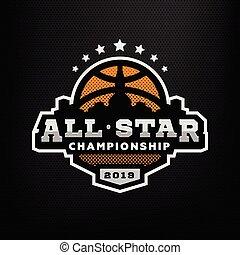 All star basketball, sports logo, emblem on a dark background. Vector illustration.