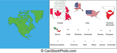 North America - All states of North America with their flags...