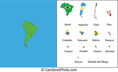 South America - All states of South America with their flags...