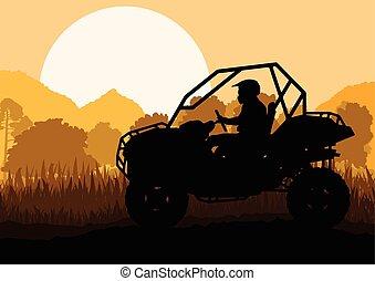 all terräng fordon, fyrling, motorcykel, ryttare, in, vild, natur, backgrou