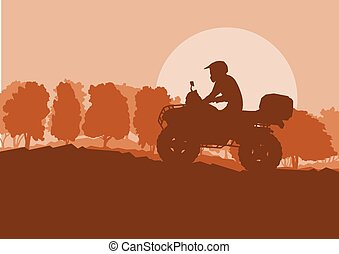 All terrain vehicle driver landscape with trees outdoor...