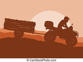 All terrain vehicle driver towing trailer with logs landscape outdoor activity vector