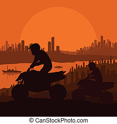 All terrain vehicle motorbike riders in skyscraper city landscape background illustration vector