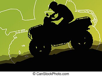 All terrain vehicle quad motorbike riders in wild nature...