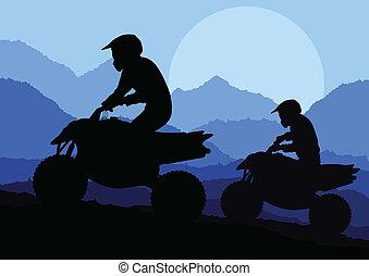 All terrain vehicle quad motorbike rider background