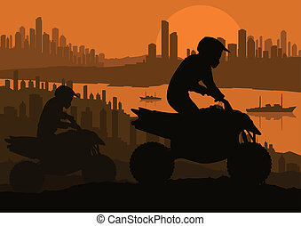 All terrain vehicle quad motorbike rider background