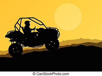 All terrain vehicle quad motorbike rider in wild nature backgrou