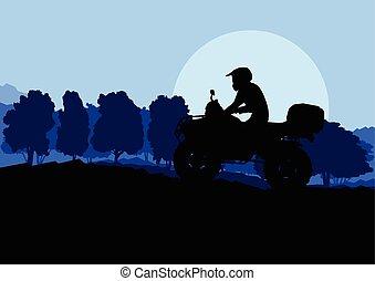 All terrain vehicle quad motorbike rider in wild nature backgrou