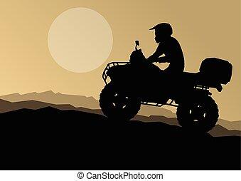 All terrain vehicle quad motorbike rider in wild nature...